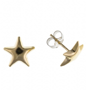 9ct Gold plain star stud earrings